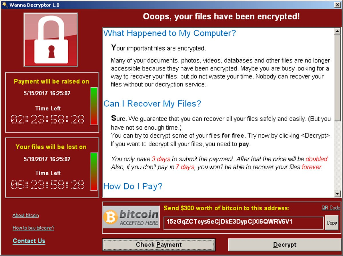 A screenshot shows a WannaCry ransomware demand, provided by cyber security firm Symantec, in Mountain View, California, U.S. May 15, 2017. (Reuters)