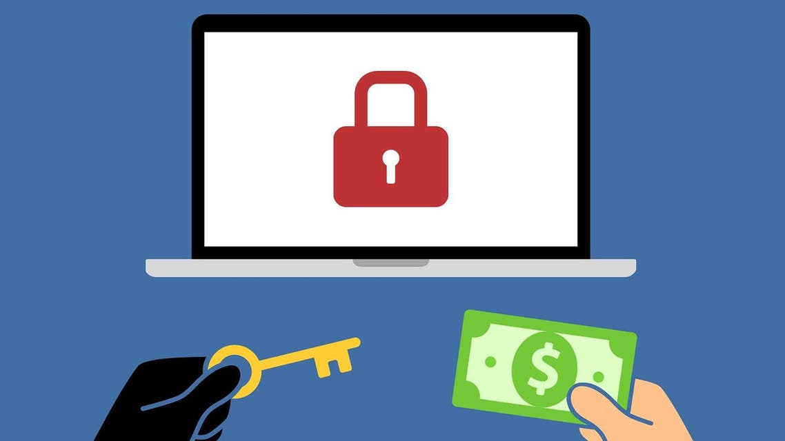 Locked computer ransomware with hands holding money and key flat vector illustration. (Shutterstock)