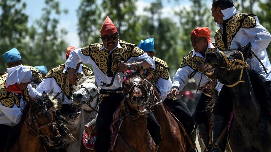 """Horseriders practice the traditional central Asian sport Kok-boru, know also as Buzkashi or Ulak Tartis (""""goat grabbing"""") on May 11, 2017, during the Ethnosports Culture Festival in Istanbul. (AFP)"""
