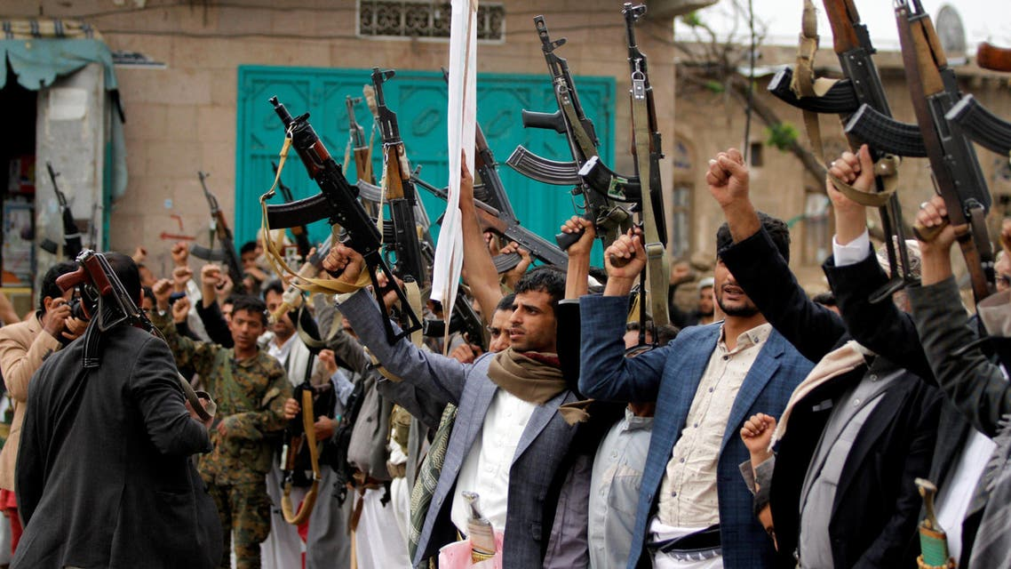Armed followers of the Houthi movement protest against the presidentÕs announcement of an extension of the state of emergency and U.S. supporting the Arab alliance led by Saudi Arabia, what they say is a U.S. interference in Yemen's affairs in Sanaa, Yemen May 11, 2017.