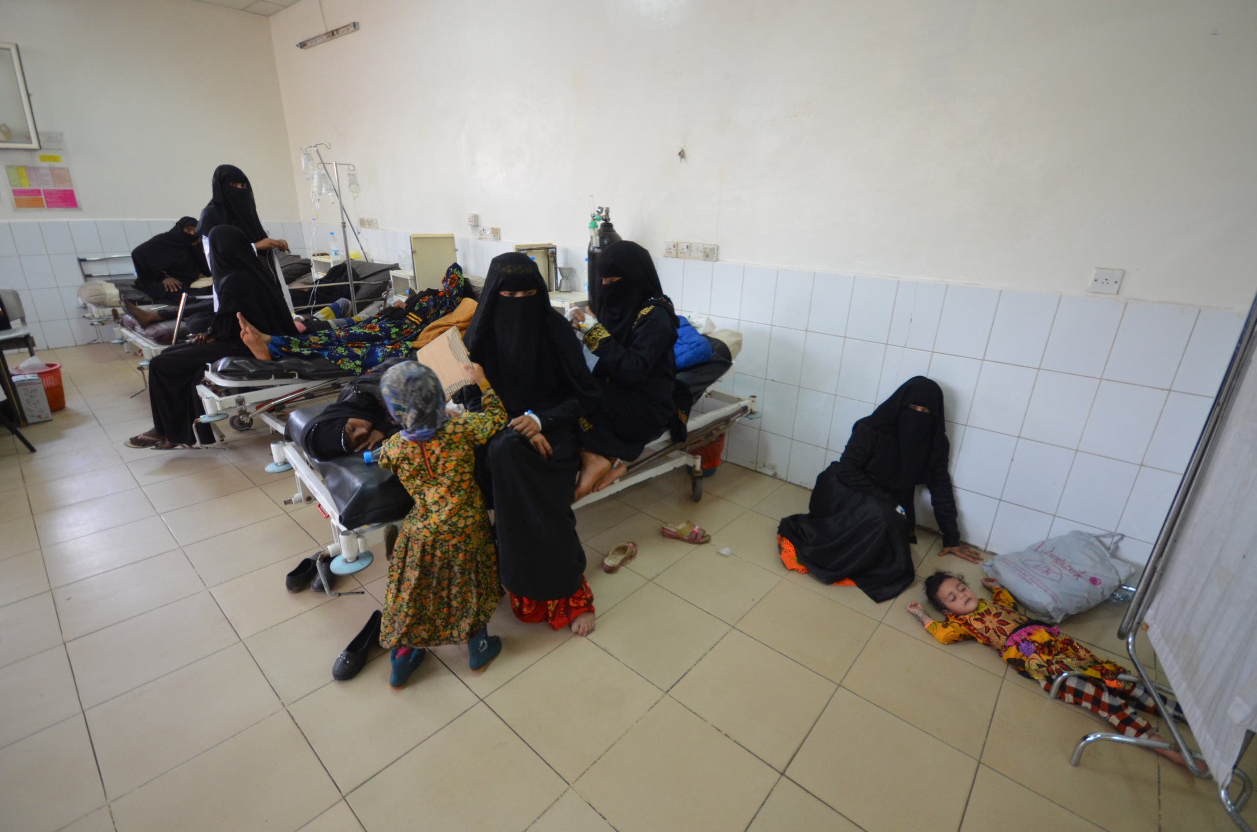 A girl infected with cholera lies on the ground of a hospital room in the Red Sea port city of Hodeidah, Yemen May 14, 2017. reuters