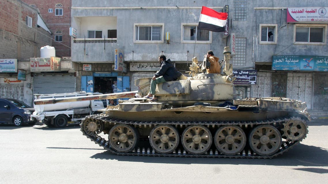 A tank used by pro-government tribal fighters is seen on a street in the southwestern city of Taiz, Yemen, November 15, 2016. reuters