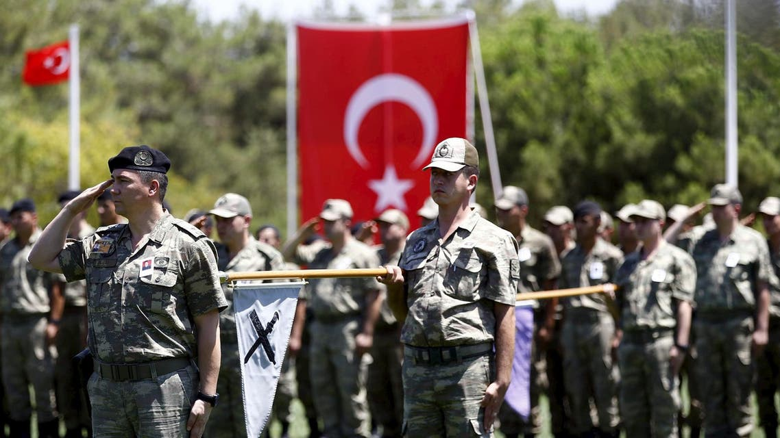 file photo from reuters: Turkish soldiers stand at attention during a ceremony for their comrade Mehmet Yalcin Nane who was killed by Islamic State militants on Thursday, at a military base in Gaziantep, Turkey, July 24, 2015. Turkish warplanes pounded Islamic State targets in Syria and police detained hundreds of suspected militants across Turkey on Friday, a sign that Ankara may have shed its hesitancy in taking a front-line role against jihadist fighters. Turkey has long been a reluctant partner in the U.S.-led coalition against Islamic State, emphasising the need to oust Syrian President Bashar al-Assad and saying Syrian Kurdish forces also pose a grave security threat