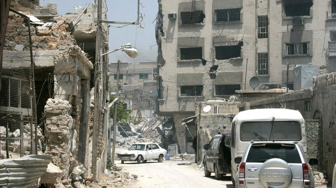 A view shows damaged buildings in Qaboun neighbourhood of Damascus, in this handout picture provided by SANA on May 16, 2017, Syria. (Reuters)