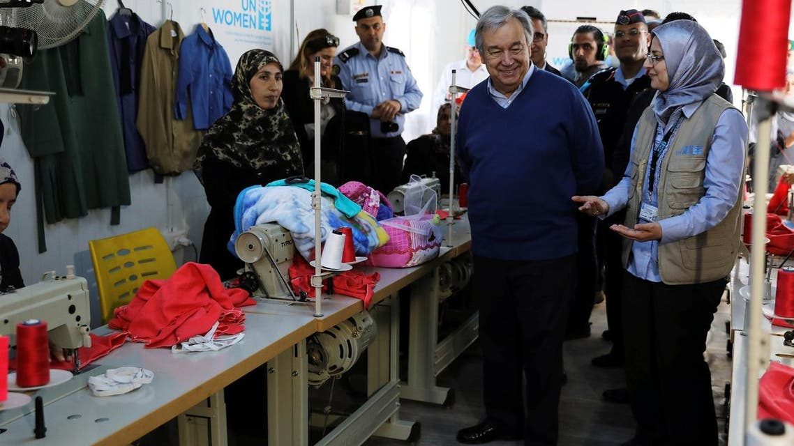 United Nations Secretary General Antonio Guterres (C) visits to Al Zaatari refugee camp in the Jordanian city of Mafraq, near the border with Syria March 28, 2017. (Reuters)