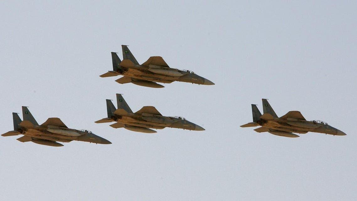 warplanes of the Saudi Air Force fly over the Saudi Arabian capital Riyadh during a graduation ceremony at King Faisal Air Force University. (File photo: AP)