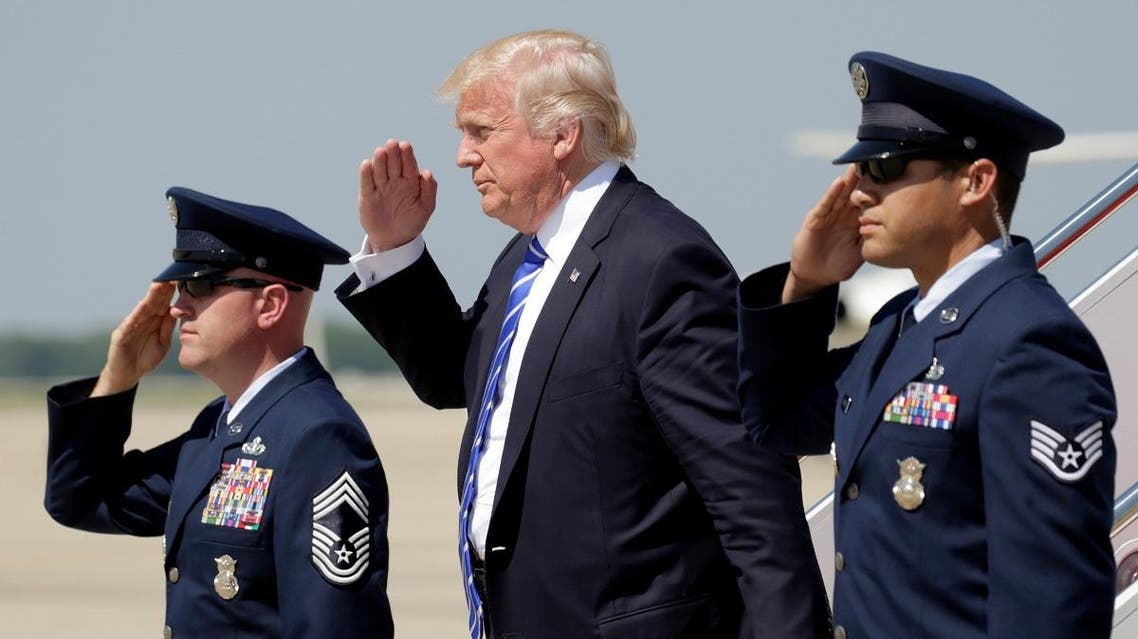 US President Donald Trump salutes as he steps from Air Force One upon his arrival at Joint Base Andrews in Maryland, U.S., May 17, 2017. (Reuters)