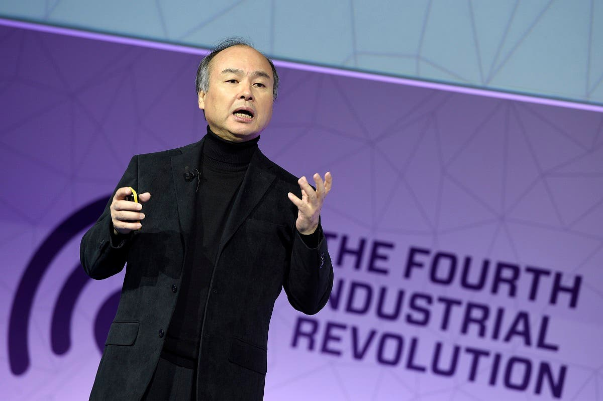 Founder & amp CEO of SoftBank Group, Masayoshi Son, speaks during a keynote speech at the Mobile World Congress in Barcelonaon February 27, 2017. (AFP)