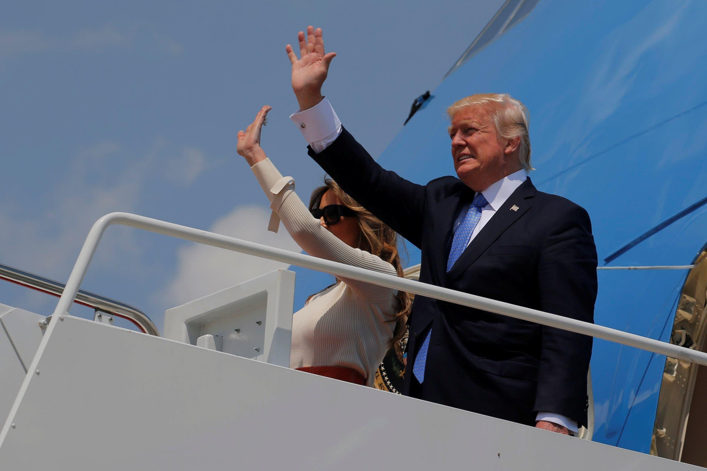 ترامپ و همسرش ملانیا در حال ترک واشینگتن به مقصد ریاض