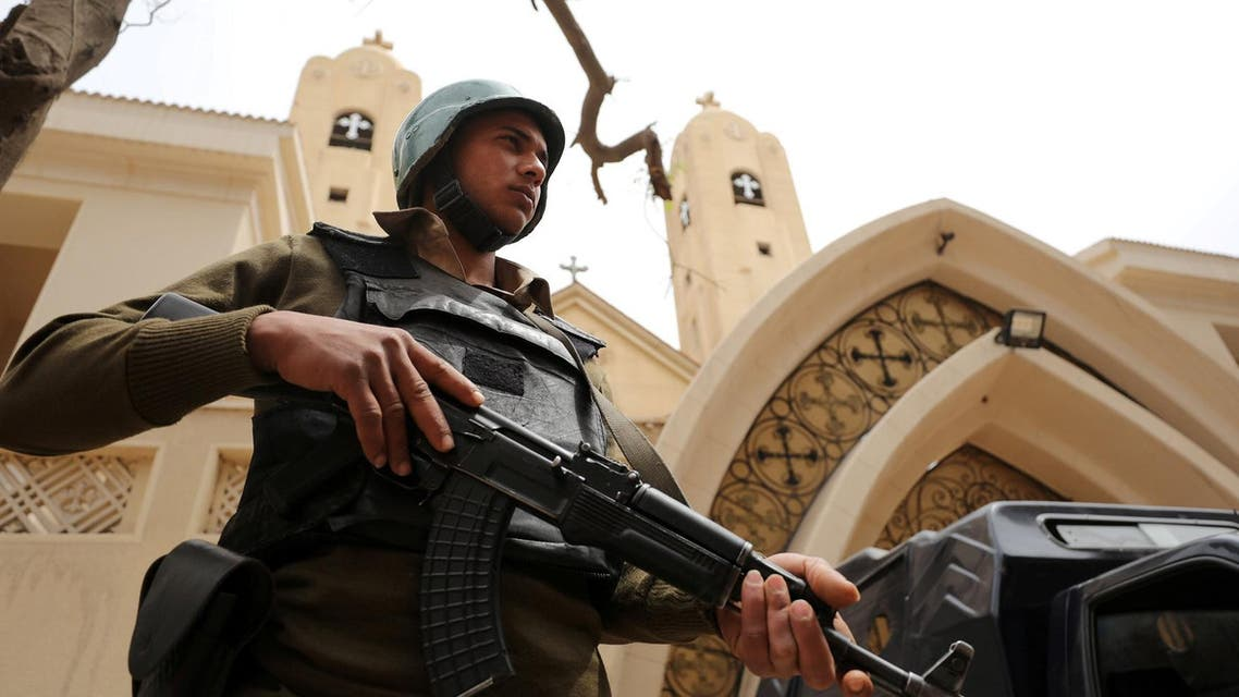 An armed policeman secures the Coptic Church that was bombed in Tanta, Egypt April 10, 2017. (Reuters)
