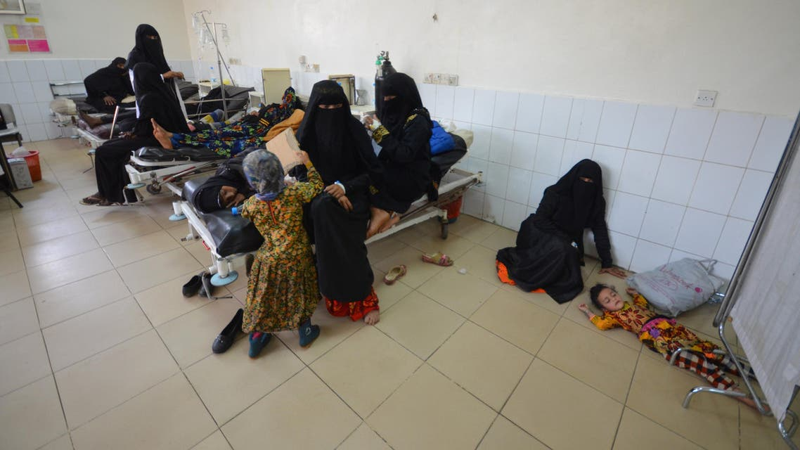 A girl infected with cholera lies on the ground of a hospital room in the Red Sea port city of Hodeidah, Yemen May 14, 2017