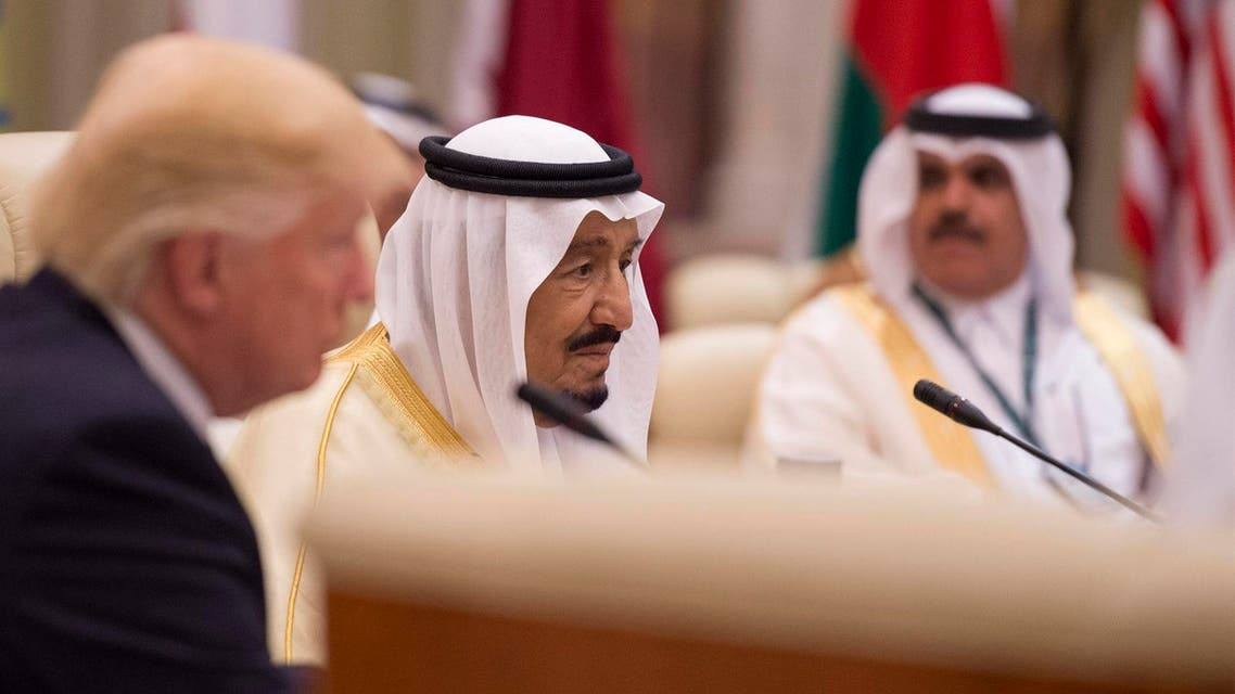A handout picture provided by the Saudi Royal Palace on May 21, 2017, shows Saudi's King Salman bin Abdulaziz al-Saud attending a meeting with leaders of the Gulf Cooperation Council and the US president at the King Abdulaziz Conference Center in Riyadh.