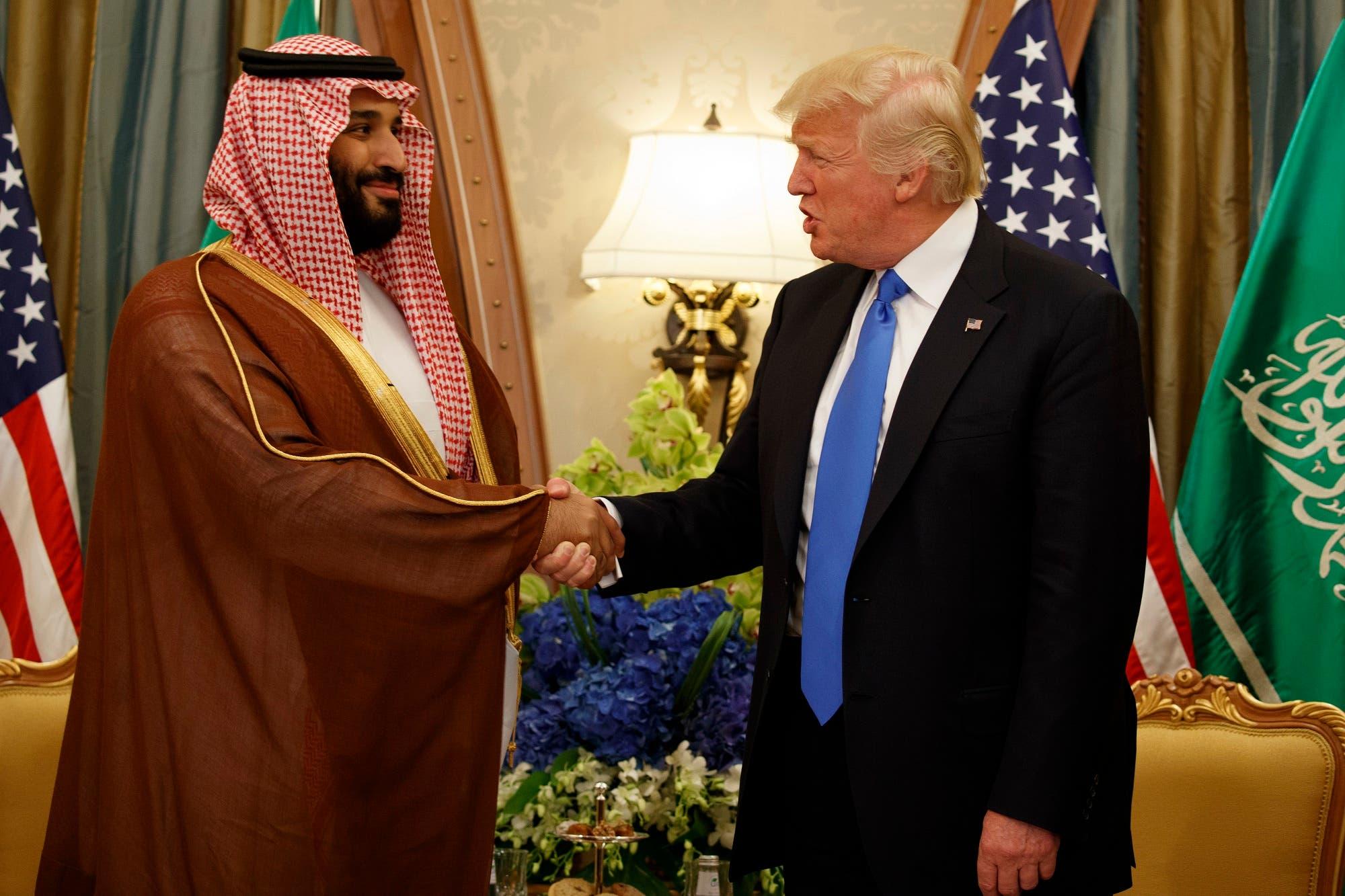 Saudi Deputy Crown Prince and Defense Minister Mohammed bin Salman bin Abdulaziz with President Donald Trump during a bilateral meeting in Riyadh. (AP)