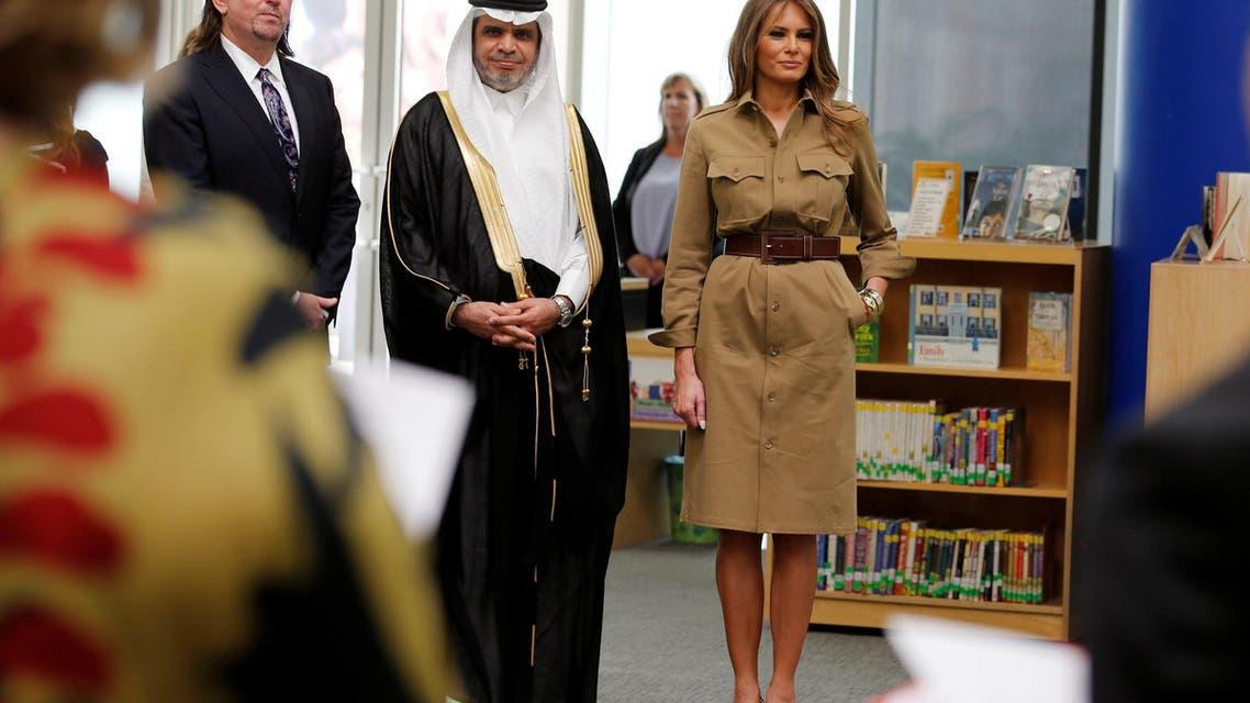 First lady Melania Trump chats with children as she visits American International School in Riyadh, Saudi Arabia, May 21, 2017