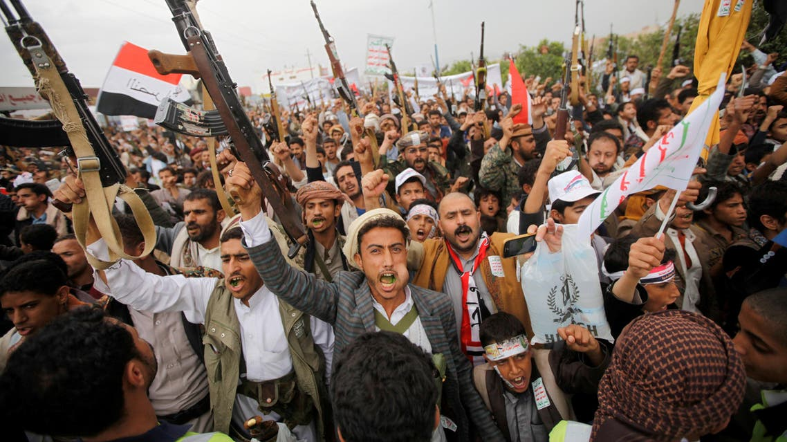 Armed followers of the Houthi movement protest against the president's announcement of an extension of the state of emergency and U.S. supporting the Arab alliance led by Saudi Arabia, what they say is a U.S. interference in Yemen's affairs in Sanaa, Yemen May 12, 2017.