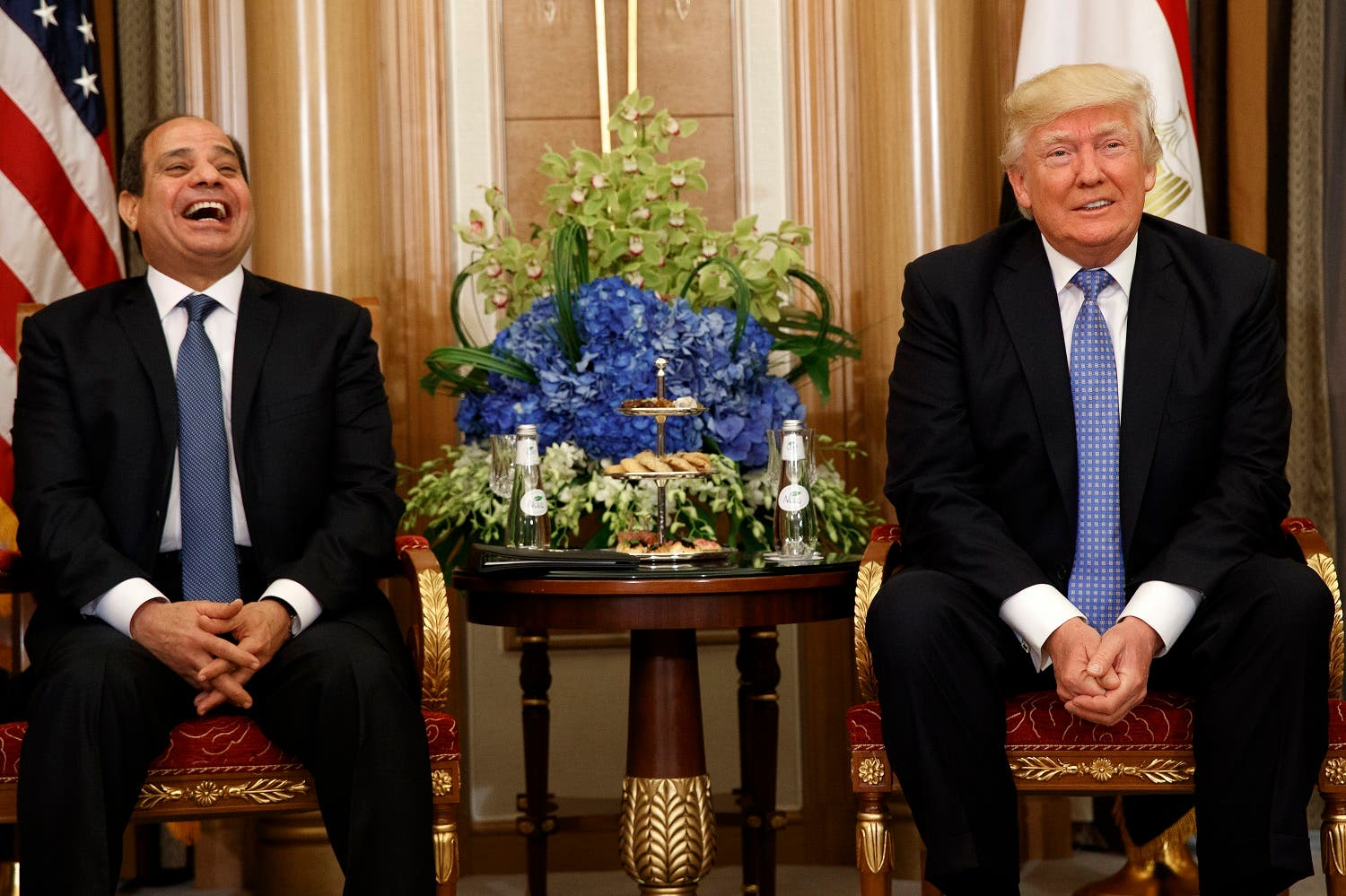 President Donald Trump jokes with Egyptian President Abdel Fattah al-Sisi during their meeting, Sunday, May 21, 2017, in Riyadh. (AP)