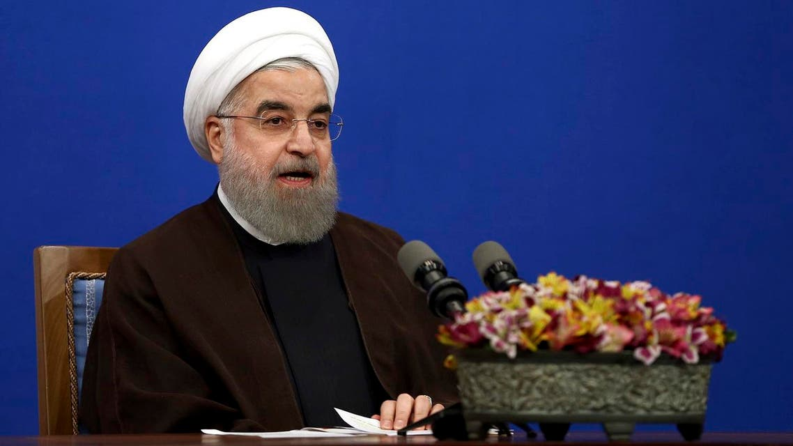 Iranian President Hassan Rouhani attends a televised speech after he won the election, in Tehran, Iran, Saturday, May 20, 2017. (AP)
