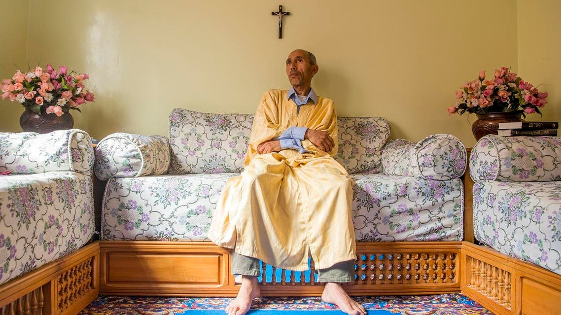 A Moroccan Christian convert attends prayers at a house in Ait Melloul near Agadir on April 22, 2017. (AFP)