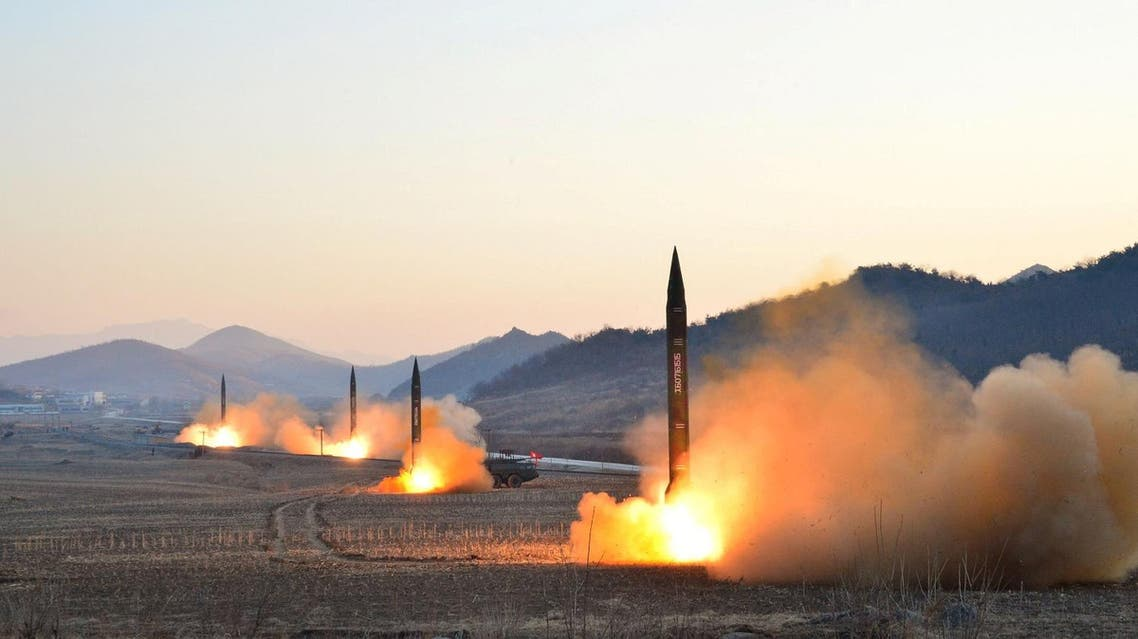 Ballistic rocket launching drill of Hwasong artillery units of the Strategic Force of the KPA on the spot in this undated photo released by North Korea's Korean Central News Agency. (File photo: Reuters)