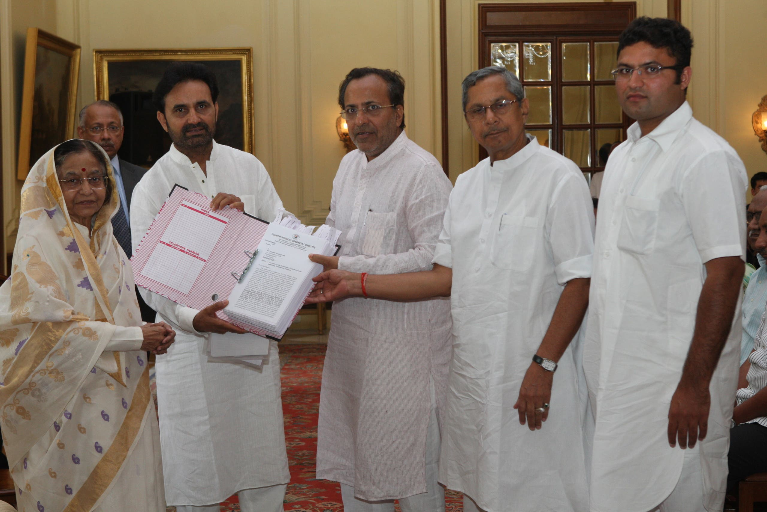 Congress leaders like Arjun Modhwadia (centre, bespectacled) have made several anti-EVM representations to the authorities. (Supplied)