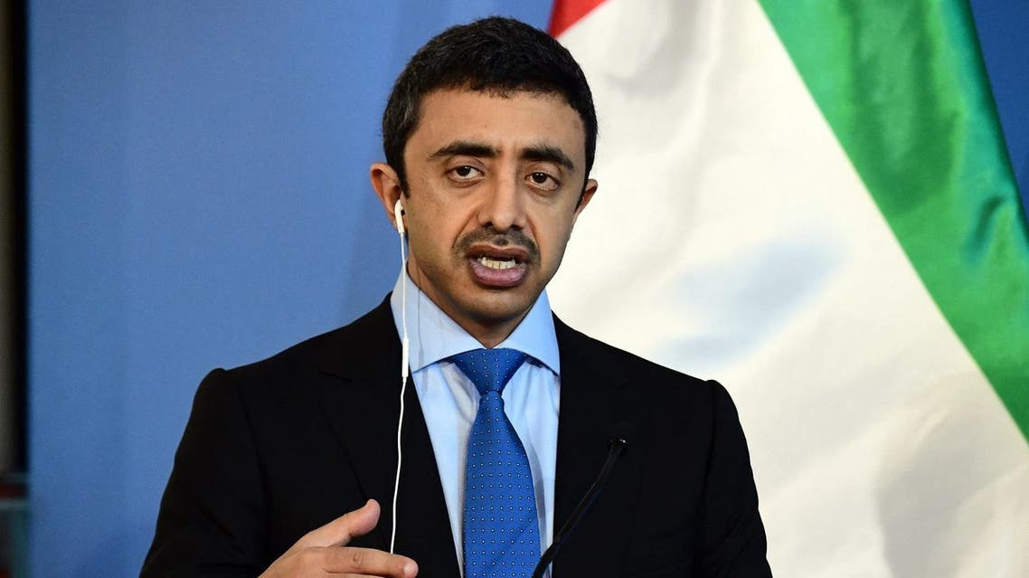 Foreign Minister Abdullah Bin Zayed Al Nahyan of United Arab Emirates talks to the media during a joint press conference with Hungary's Minister of External Economy and Foreign Affairs, Peter Szijjarto (unseen), at the ministry in Budapest, on July 13, 2016. (AFP)