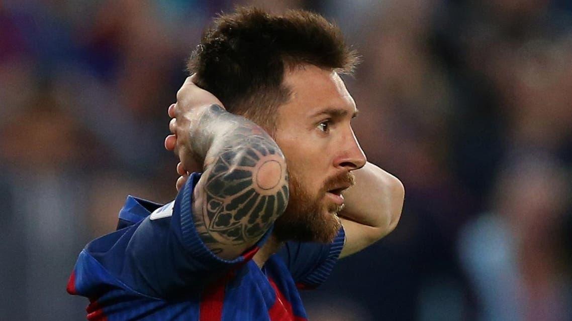 Football Soccer - FC Barcelona v Eibar - Spanish Liga Santander - Nou Camp, Barcelona, Spain - 21/5/17 Barcelona's Lionel Messi after missing a chance to score. (Re