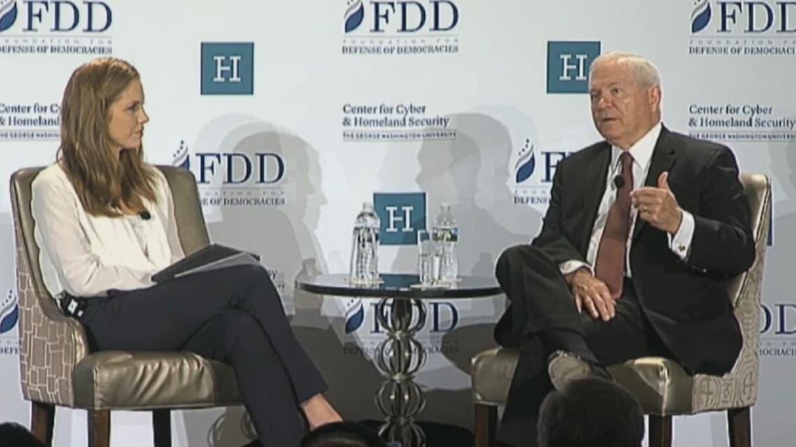 Former US Secretary of Defense Robert Gates at the Foundation for the Defense of Democracy seminar. (Screengrab)