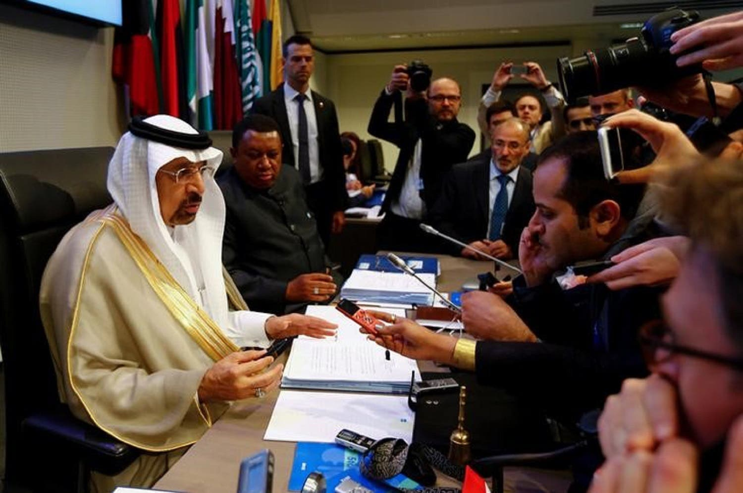 Saudi Energy Minister Khalid al-Falih speaks to the press at Vienna after the meeeting between OPEC and non-members.  (Reuters)
