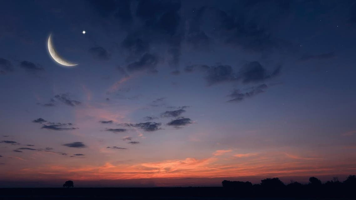 Night sky landscape and moon, stars, Ramadan Kareem celebration. (Shutterstock)