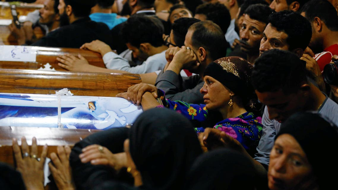 Mourners gather at the Sacred Family Church for the funeral of Coptic Christians who were killed on Friday in Minya, Egypt, May 26, 2017.