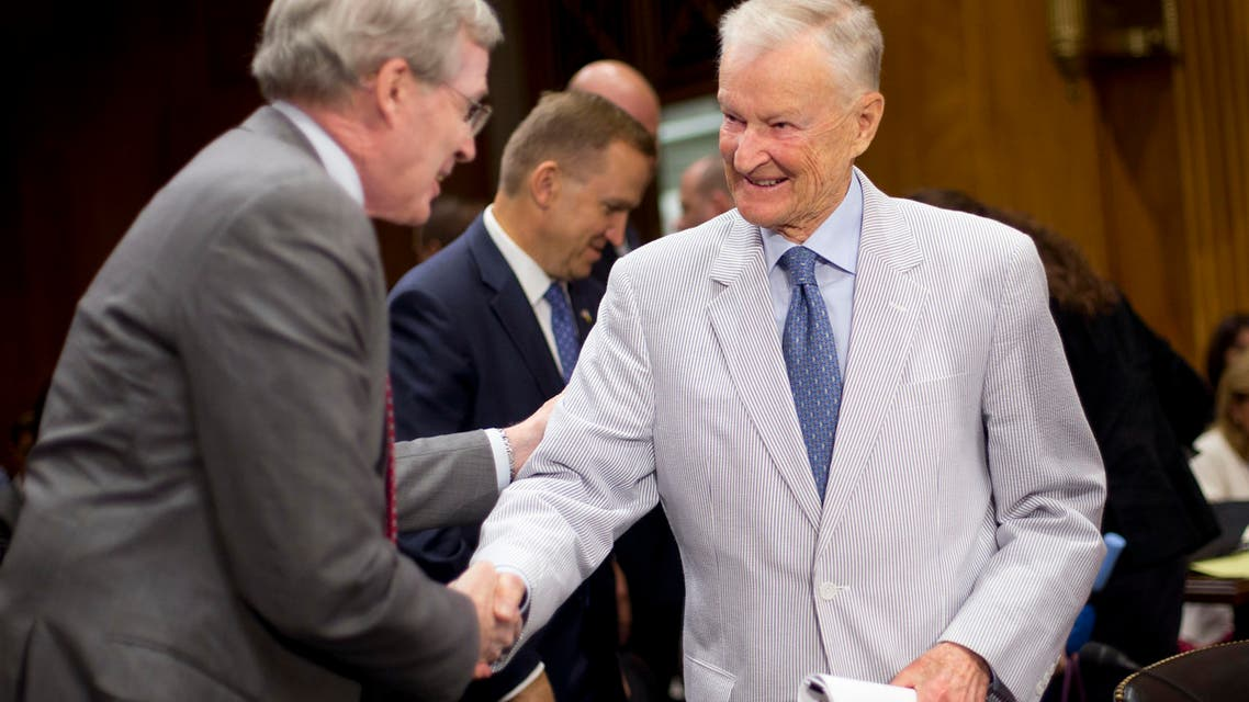 File photo of former National Security Adviser Zbigniew Brzezinski (right), greeted by former National Security Adviser Stephen Hadley, on Capitol Hill in Washington. (AP)