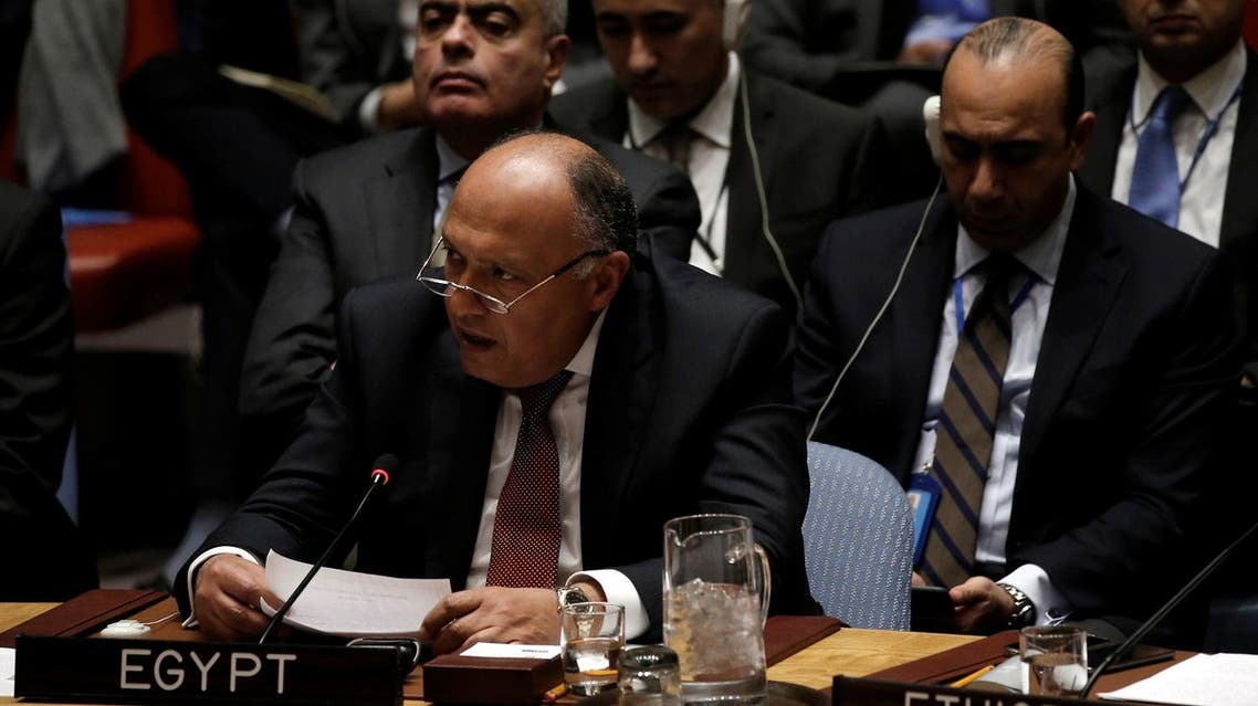Egyptian Foreign Minister Sameh Shoukry addresses a U.N. Security Council meeting on South Sudan at U.N. headquarters in New York City, New York, U.S., March 23, 2017. REUTERS/Mike Segar