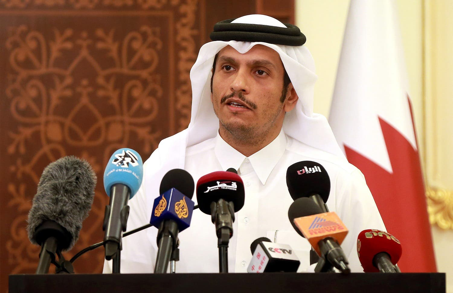 Qatari Foreign Minister Mohammed bin Abdulrahman al-Thani addresses a press conference in Doha on May 25, 2017. (AFP)