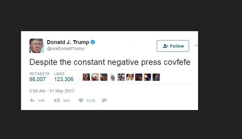 screengrab of trump's typo
