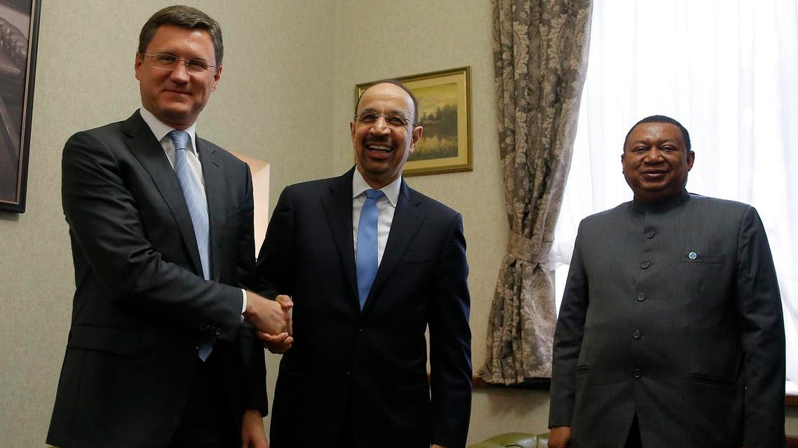 Russian Energy Minister Alexander Novak, Saudi Arabian Energy Minister Khalid al-Falih and OPEC Secretary General Mohammad Barkindo gather ahead of a meeting in Moscow, on May 31, 2017. (Reuters)