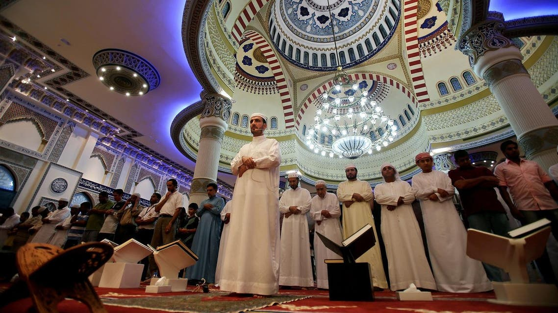 In this photo taken on June 24, 2015, an Imam leads prayers at a mosque named after Al Farooq Omar bin Al Khattab in Dubai, UAE, during the month of Ramadan. (AP)