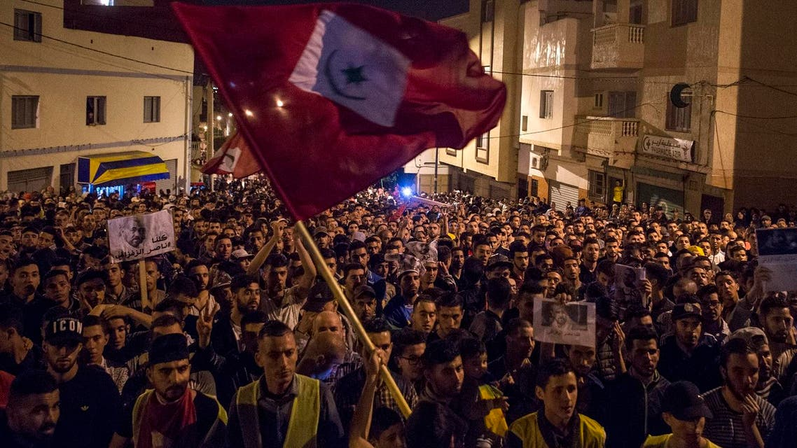 Protestors march May 31, 2017 in Al-Hoceima during a demonstration demanding the release of Nasser Zefzafi. (AFP)