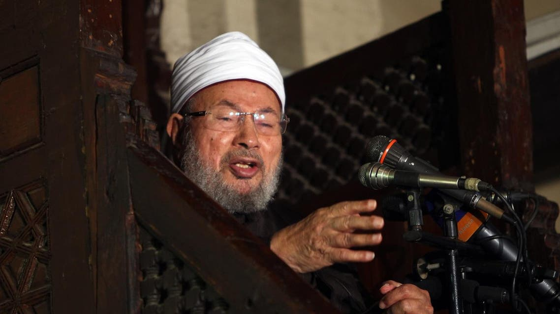 Yusuf al-Qaradawi addresses Muslims at Al-Azhar mosque during the weekly Friday prayer in Cairo on December 28, 2012. (AFP)