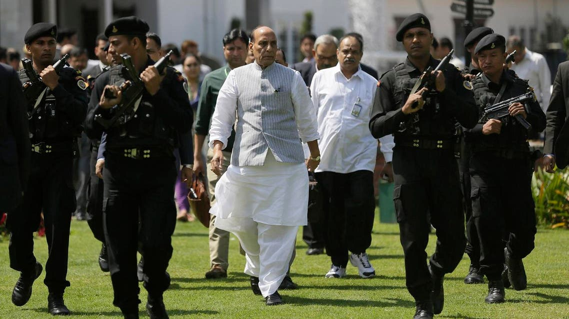 Indian Home Minister Rajnath Singh arrives for a press conference in Srinagar, Indian administered Kashmir. (File photo: AP)