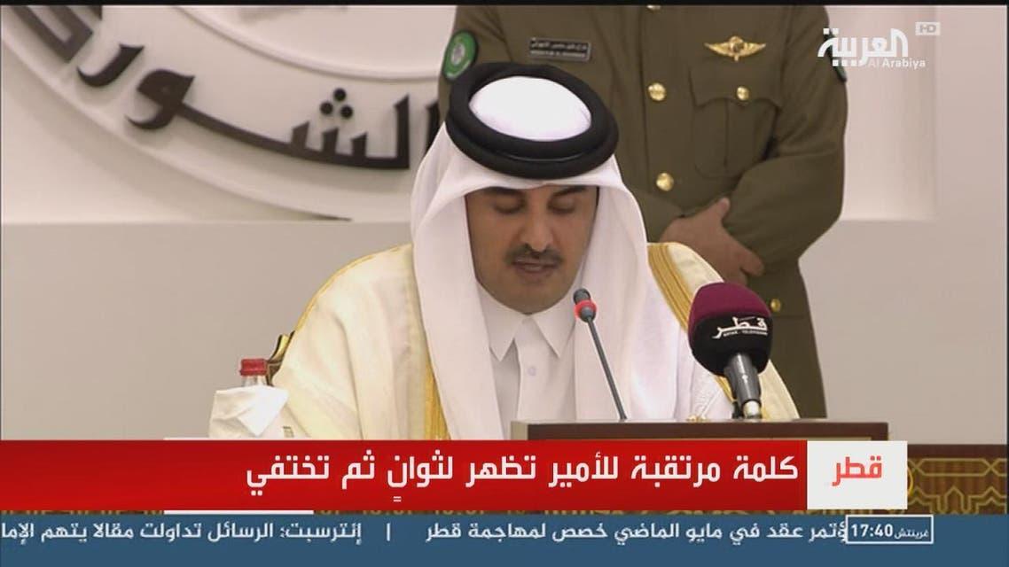 THUMBNAIL_ الجزيرة تقطع خطاب أمير قطر بعد بثه لثوان