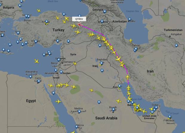 Pictures show Qatar Airways flight routes after air embargo - Al ...
