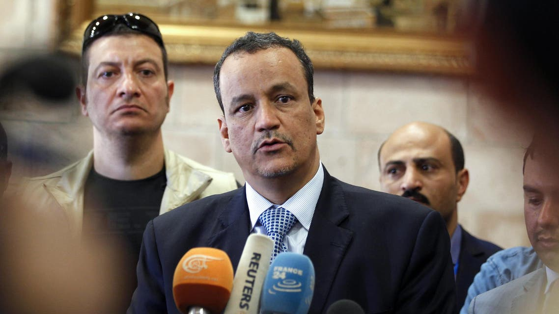 The United Nations Special Envoy to Yemen Ismail Ould Cheikh Ahmed speaks to the press upon his arrival at Sanaa international airport on May 22, 2017. (AFP)