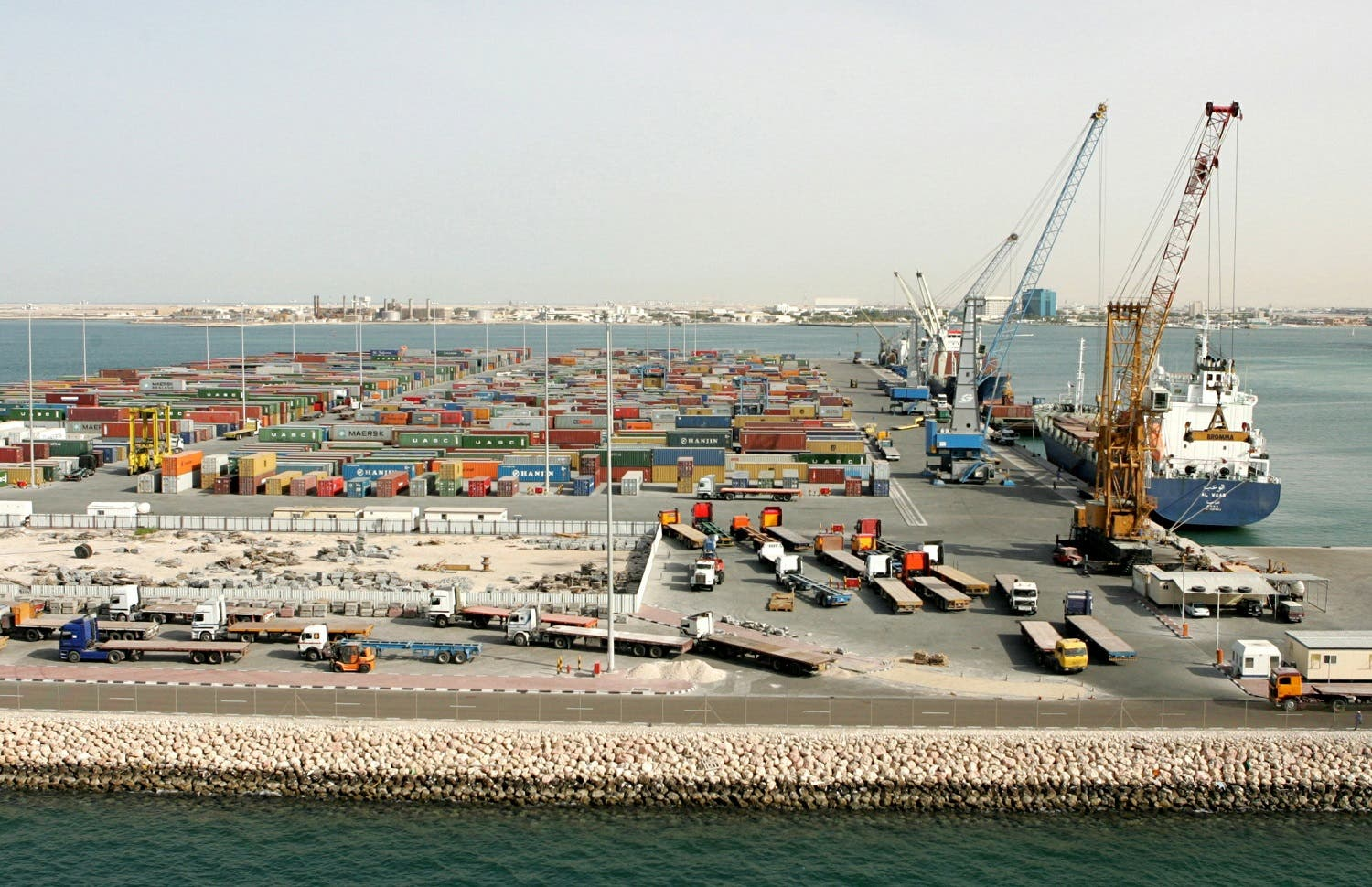 A general view of the Doha port container terminal in Doha, Qatar. (Reuters)