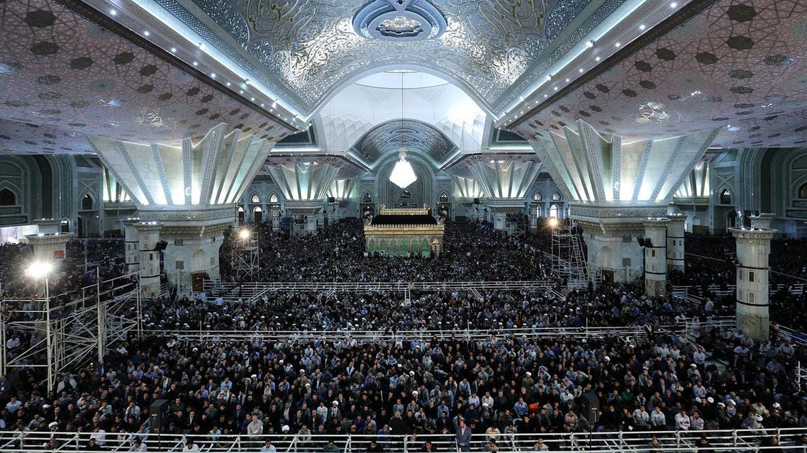 This handout picture on June 4, 2017 shows Iranians attending the 28th anniversary of the death of Ayatollah Khomeini at his mausoleum in Mossala, a suburb of Tehran. (AFP)
