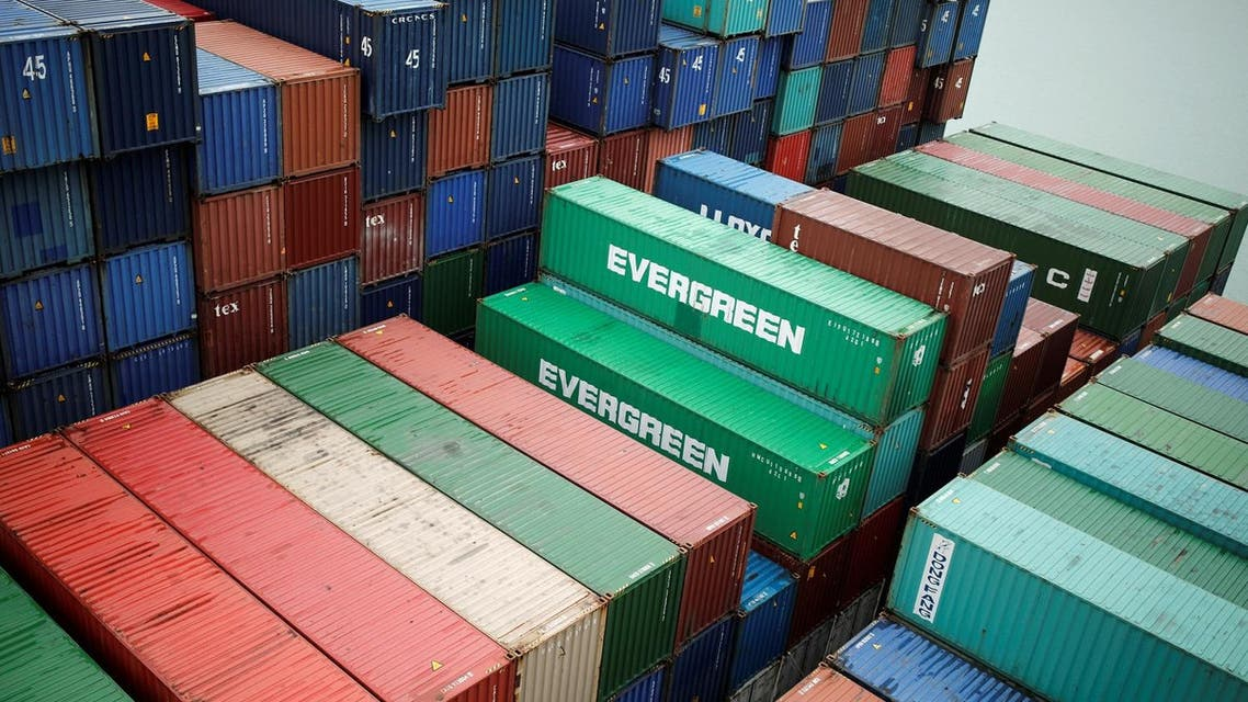 Evergreen Marine. Corp shipping containers sit stacked at the Port 2000 terminal in the Port of Le Havre, France, on March 14, 2017. (Reuters)