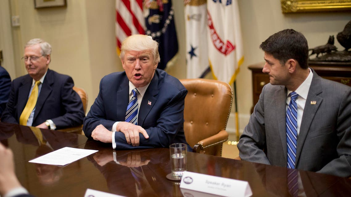 President Donald Trump, center, with Senate Majority Leader Mitch McConnell of Ky., left, and House Speaker Paul Ryan of Wis., right, during a meeting with House and Senate Leadership in the Roosevelt Room of the White House in Washington, Tuesday, June 6, 2017. (AP)