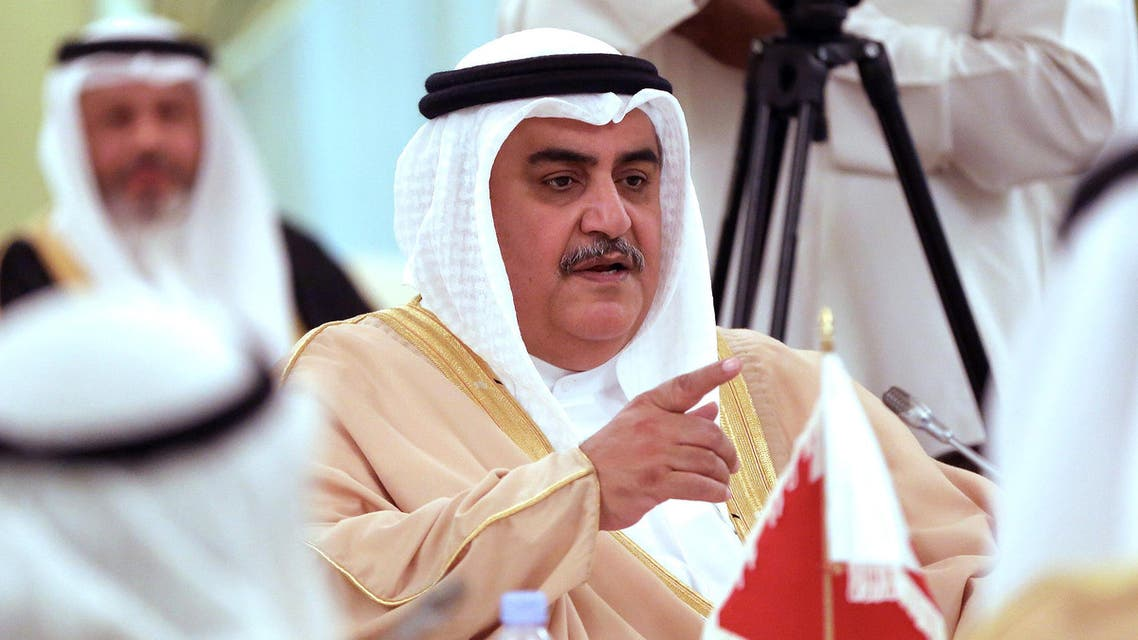 Bahraini Foreign Minister Sheikh Khaled bin Ahmed al-Khalifa speaks during a joint press conference after signing an agreement with his Kuwaiti counterpart in Kuwait City on April 16, 2017.