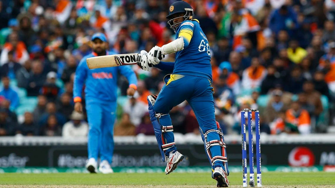 Sri Lanka's Angelo Mathews in action against India in the 2017 ICC Champions Trophy Group B match at the Oval, UK. (Reuters)