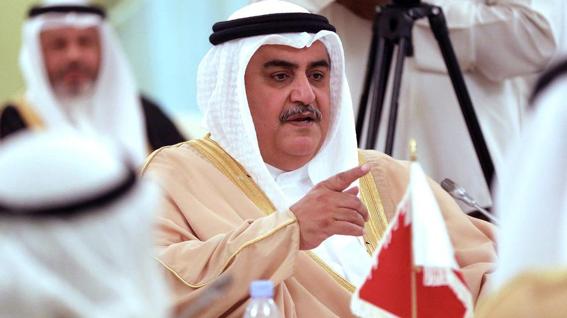 Bahraini Foreign Minister Sheikh Khaled bin Ahmed al-Khalifa during a press conference in Kuwait City on April 16, 2017. (AFP)