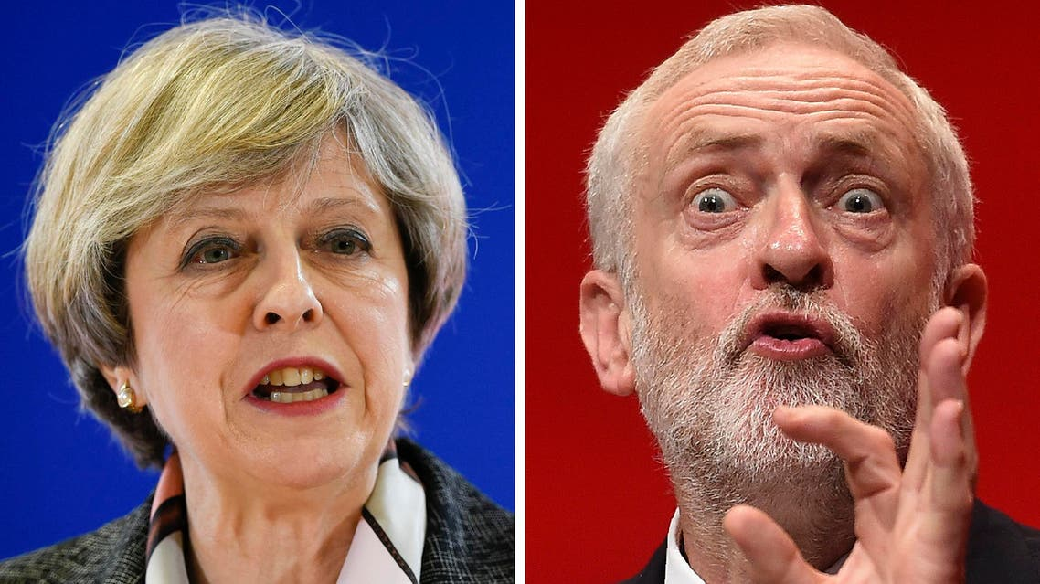 A combination of pictures created in London on April 18, 2017 shows British Prime Minister and Conservative Party leader Theresa May (L) speaking at a press conference during a European Summit at the EU headquarters in Brussels on March 9, 2017 and Britain's main opposition Labour Party leader Jeremy Corbyn (R) speaking on the fourth day of the annual Labour Party conference in Liverpool, north west England on September 28, 2016. Britain goes to the polls to vote in a general election on June 8.
